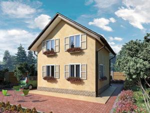 """СИП-дом """"под ключ""""  Общая площадь 75м2 стоимость домокомплекта от 7000 руб. за 1 м2 со сборкой от 8500 руб. за 1 м2"""